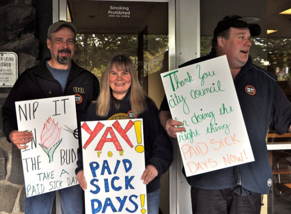 Supporters of paid sick leave turn up April 28 to thank Eugene City Council for moving forward on a City ordinance. Photo by Lisa Frack, courtesy of Family Forward Oregon
