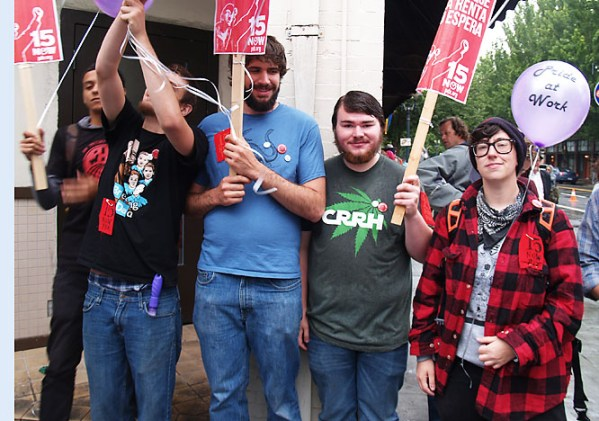 CANNABIS WORKERS UPRISING: Mason Peace, Jessy Dreyer, Barrett Ross, Kenneth Kautz, Misha Litvak, pictured at the June 15 Pride Northwest parade, were some of the nine signature gatherers who went on strike June 9 after the Campaign for Restoration and Regulation of Hemp failed to pay their wages. That campaign called it quits, but a better-funded effort to legalize marijuana in Oregon turned in signatures June 26 and expects to be on the ballot in November.