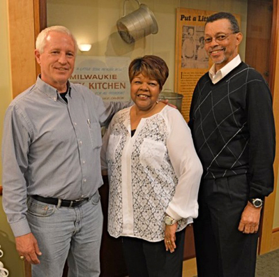 Hurtis (right) and Dorothy (center) Hadley are joined by Terry Lansing, financial secretary-treasurer of Bakers Local 114, at a reception at the Oregon Historical Society featuring the Hadleys and Milwaukie Pastry Kitchen — the first black-owned bakery in Oregon. Hurtis is a Local 114 pensioner, having retired in 1997.