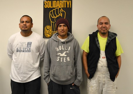 Solidarity — from the union, from workers on the job, and each other — is the force that exposed wage theft at a brand-new Pearl District apartment complex. Romeo Garcia, Alberto Avendaño, and Marcos Jimenez — pictured above at the office of Painters Local 10 — were among at least eight employees of C2 Professional Painting who were paid about half the $26.83 prevailing wage rate for painters at Parker Apartments. But after the Department of Labor investigated, general contractor Lorentz Bruun paid $85,000 to settle the underpayment of its subcontractor.