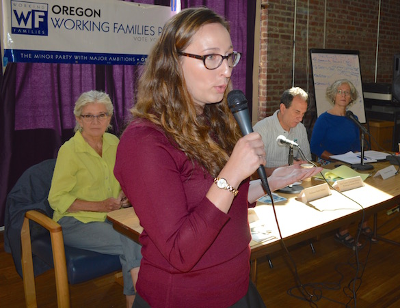 Oregon Working Families executive director Karly Edwards – a former union organizer with UNITE HERE – moderates an Aug. 25 panel discussion. Also pictured are, from left: party co-founder Barbara Dudley; national party chair Dan Cantor, and Portland State University economist Mary King.