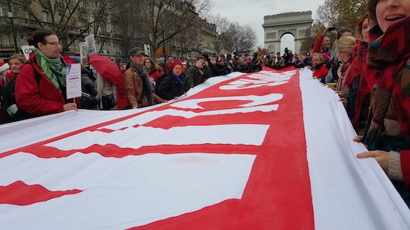 Dec. 12, 2015 climate change demonstration at the Champs Élysées, Paris. (Photo by Jeff Johnson)