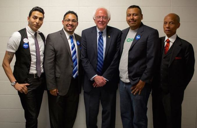 At a Salem Armory rally May 10, supporters of the Burgerville Workers Union met — and got support from — Bernie Sanders. (Photo via the Burgerville Workers Union Facebook page)