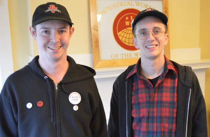 Jordan Vaandering and Luis Brennan are part of a group of Burgerville employees who want a union.