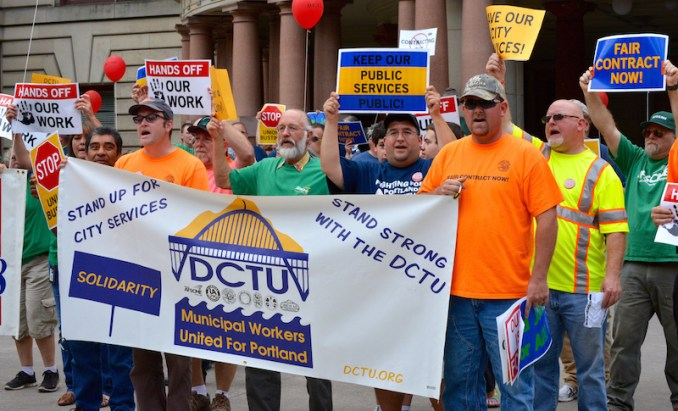 CITY UNIONS UNITED: Members of DCTU unions rally for a fair contract outside Portland City Hall August 2013