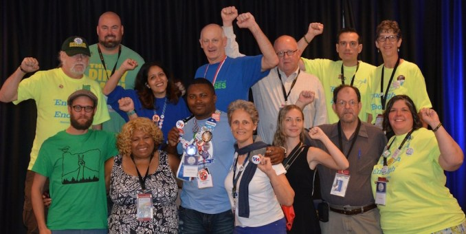At the 2016 Democratic National Convention in Philadelphia, labor union members and officers made up a sizable fraction of delegates. Oregon delegates with ties to organized labor, above, included supporters of both Bernie Sanders and Hillary Clinton, the ultimate nominee.