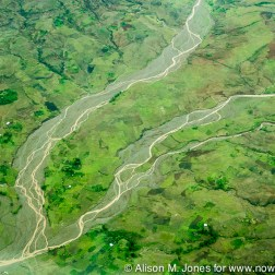 Ethiopia: aerial from Caravan en route from Addis Ababa to Arba Minch at foothills of Gurage Mountains, confluence of braided riverbeds