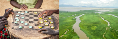 Bottle-top checkers at Kitchen Without Borders / The Omo Delta flowing into Lake Turkana