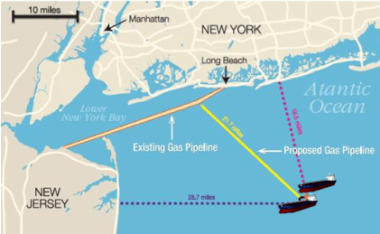 LNG pipeline to cross the western Lower NY Bay, which is the Raritan Bay
