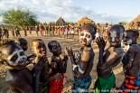 Ethiopia: Lower Omo River Basin, Lebuk, a Karo village, during dance ceremony