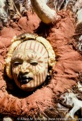 Kenya: Thompson Falls, Kikuyu man in mask and make-up.