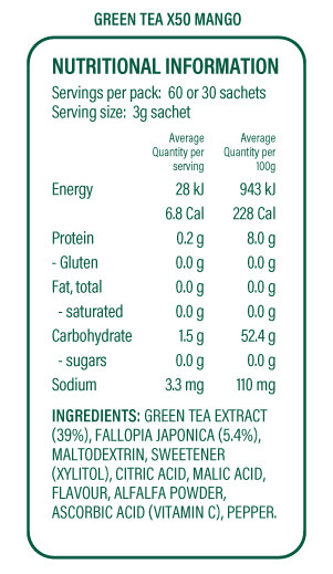 x50 tea mango nutritional information