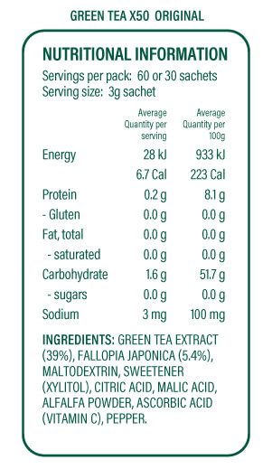 x50 tea original nutritional information