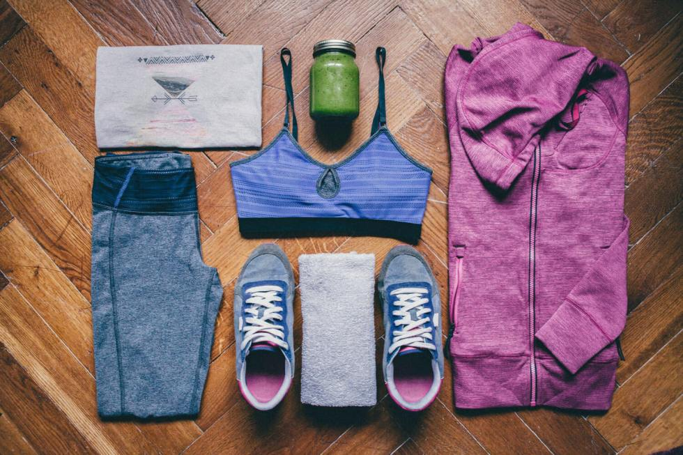 fitness clothes laid out