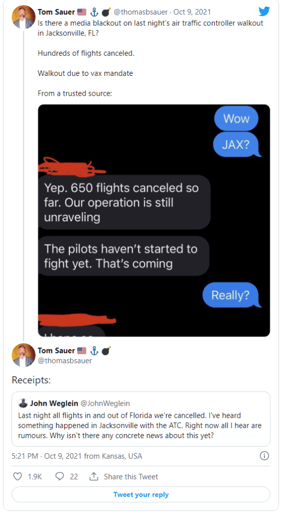 Media Blackout: It's Not Just Southwest Airlines – Air Traffic Controllers in Jacksonville Reportedly Walked Out Friday Night Protesting Mandatory COVID Vaccinations Too Image-810