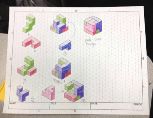 Hand sketch of a final puzzle cube design created by Roselynn Nelson, 10th grade (at the time).