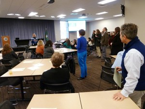 """Paula Littlewood introduces the """"Voices of the Bar"""" video to staff."""