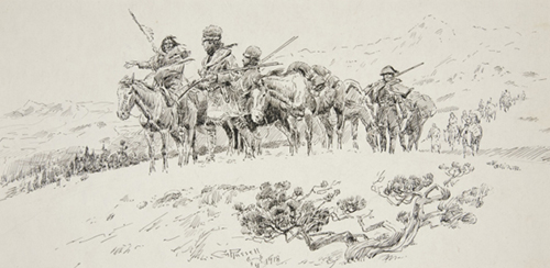 Lewis and Clark with guide sketch