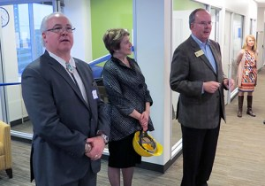 Former governor Ken Masters, COO Ann Holmes and WSBA President Bill Hyslop welcome guests.