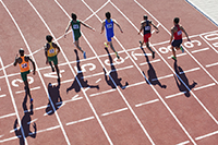The finish line of a foot race