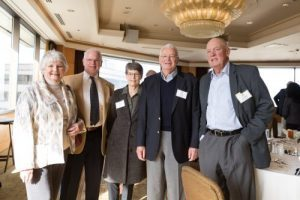 Guest Kathleen Gorham, 50-year member Gerald Tuttle, guest Carol Olson, 50-year member Tom Olson, and 50-year member Jerome Hillis.
