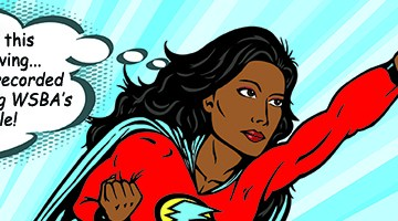 A female super hero flying