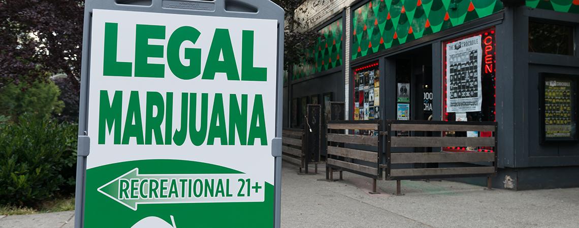 Legal marijuana sign in Seattle's Belltown neighborhood.