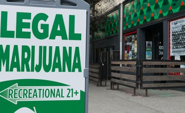 Legal marijuana sign in Seattle's Belltown neighborhood.