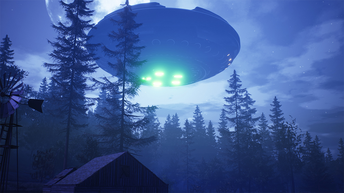 UFO flies over the forest and scans the house