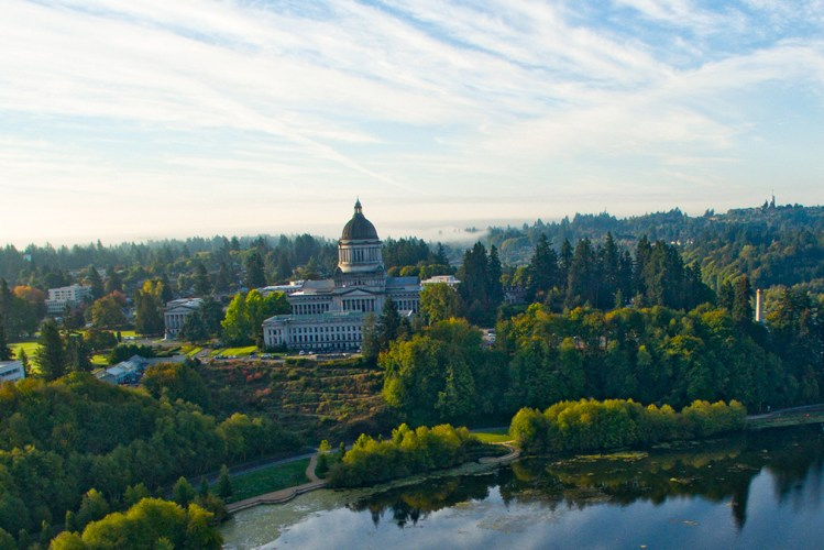 Aerial view of Washington State Capitol Building in Olympia