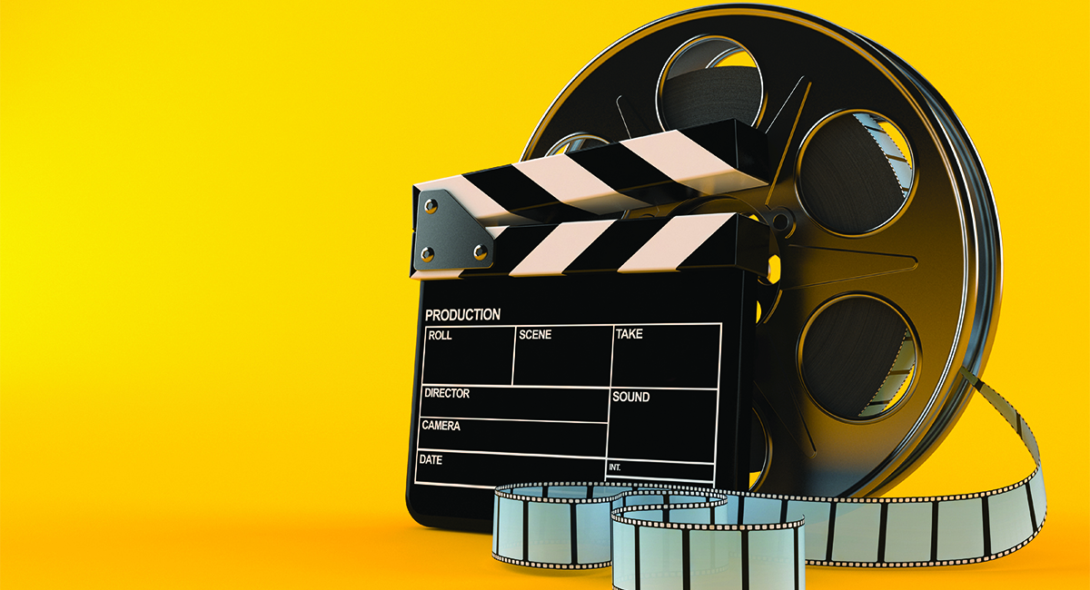 Film reel with clapboard