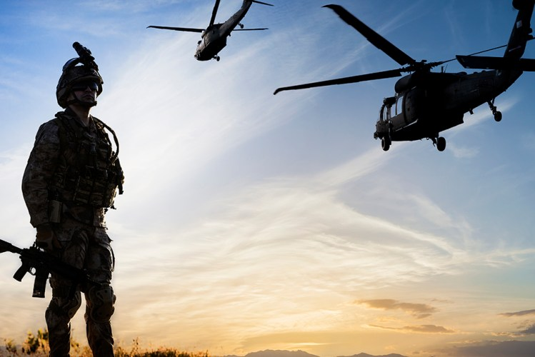 Military chopper mission in the morning