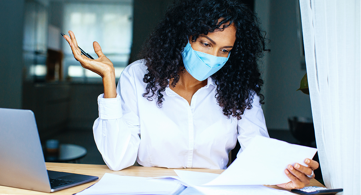 Accounting woman in a COVID mask