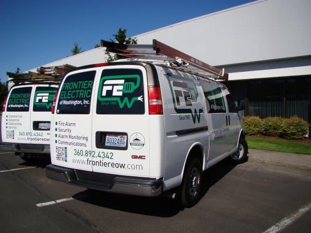 Frontier Electric Van Wrap Advertise