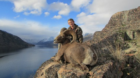 On a day that some Americans still remember as a harvest celebration, Cody Dobbins, 13, of the Tri-Cities made good on a once-in-a-lifetime permit to take a bighorn ram. He was hunting with his stepfather, Jeremy Johnson, above Lake Chelan. He got plenty of local help in his effort, and was transported up the fjord by Jeff Witkowski of Darrell & Dad's Guide Service.