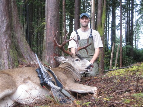 "Dan Richardson's North Sound state-lands blacktail features a 4-inch droptine. ""I have always dreamed of taking a trophy blackie and was very pleased with this one,"" he said of his late October buck. Richardson was using a Tikka T3 .300 Win Mag. (BROWNING PHOTO CONTEST)"