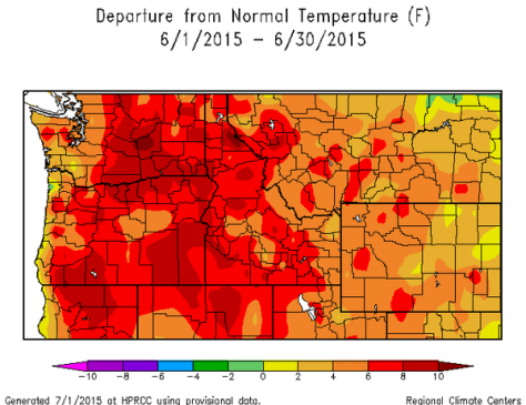 A NATIONAL WEATHER SERVICE IMAGE SHOWS HOW MUCH JUNE'S TEMPERATURES WERE ABOVE NORMAL ACROSS THE NORTHWEST. THE MONTH ALSO SAW LITTLE RAINFALL ON THE WEST SIDES OF THE CASCADES. THOSE CONDITIONS AND AN EXCEEDINGLY SMALL SNOWPACK ARE TEAMING TO PUSH RIVER TEMPERATURES TO DANGEROUS LEVELS FOR FISH. (NATIONAL WEATHER SERVICE)