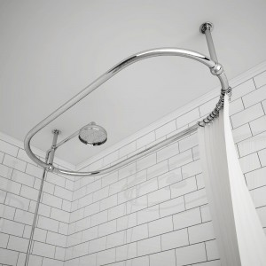 1140mm w x 610mm d x 340mm h carbo traditional chrome ceiling mounted shower curtain rail ceiling arms