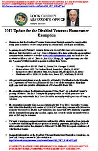 Disabled veterans Homeowner Exemption 2017 Update ...