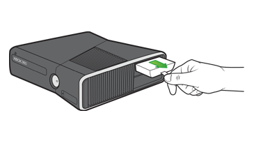 A hand pulling the tab on an Xbox 360 Hard Drive to remove it from the hard drive slot on an Xbox 360 S console
