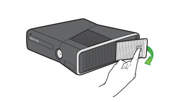 A hand opening the hard drive cover on an Xbox 360 S console