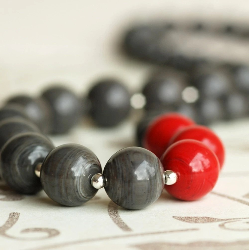 stormy and red necklace
