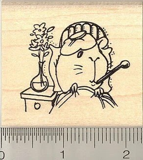 Get Well Guinea Pig Rubber Stamp by RubberHedgeHog