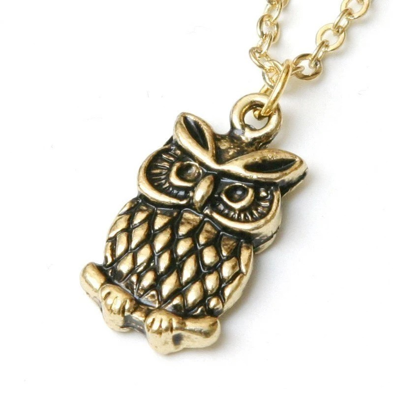 The Night Hunter - Antique Gold Owl Necklace