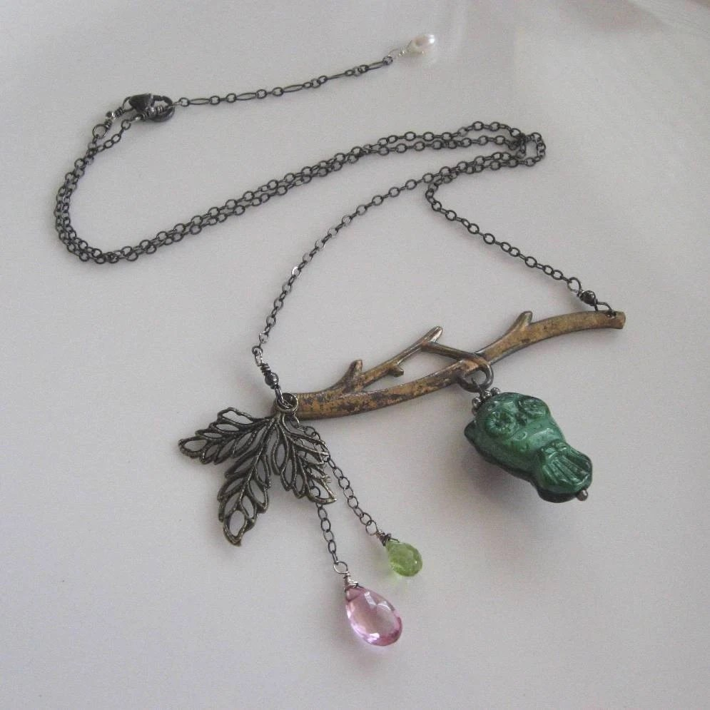 Owl, pink topaz and peridot on oxidized sterling silver necklace