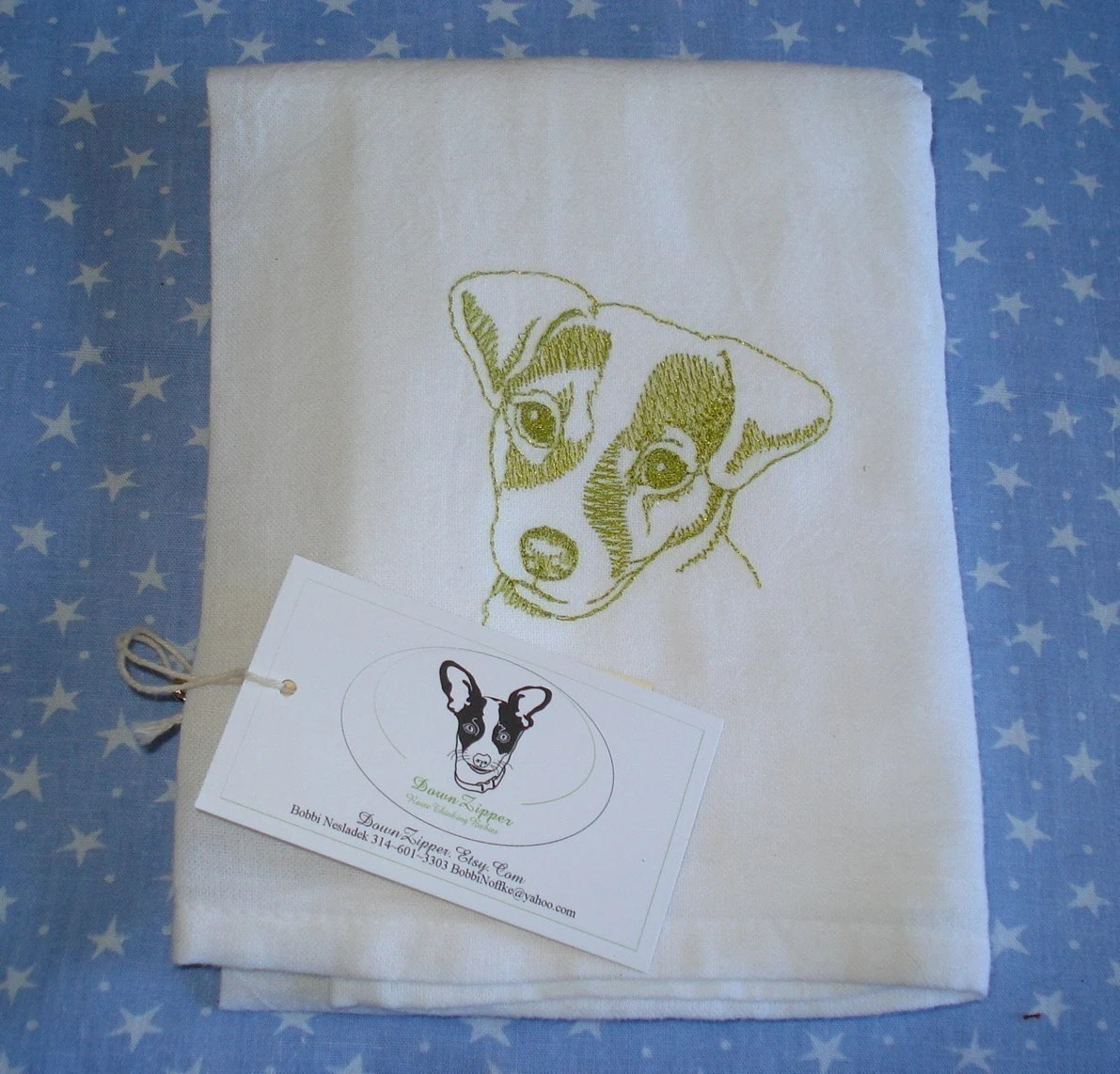 Jack Russell Embroidered Tea Towel / Flour Sack - Great Gift for Hard to Buy People