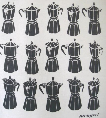 Moka Express tea towel by mengseldesign