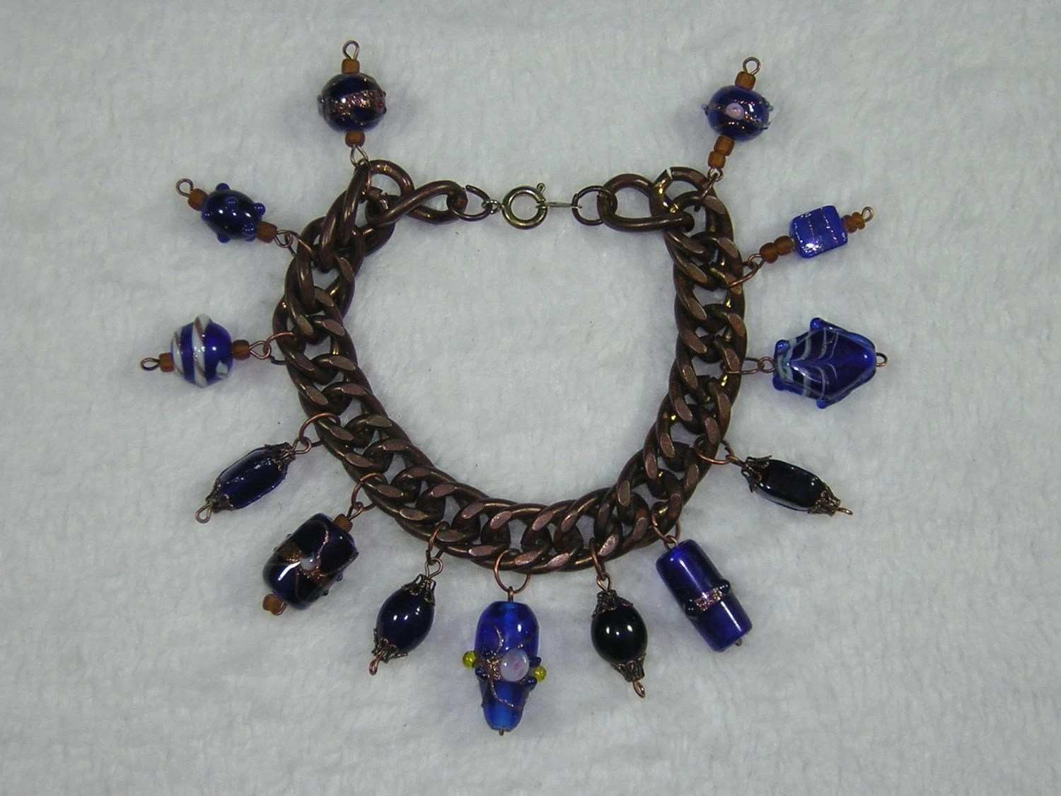 One of a Kind Blue and Copper Beaded Charm Bracelet - Handmade by Rewondered D225B-00010 - $34.95