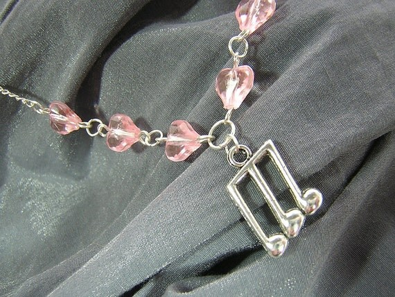 Pink Hearts and Silver Music Note Love Song Necklace - Handmade by Rewondered D225N-10311 - $12.95