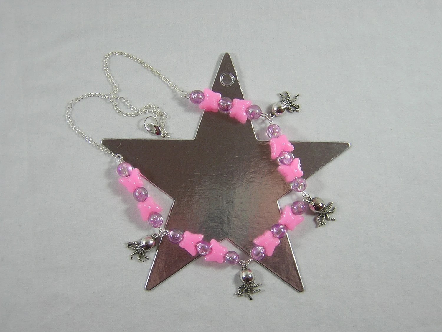 Pink Butterflies and Cthulhu Necklace - Handmade by Rewondered D225N-99213 - $23.95